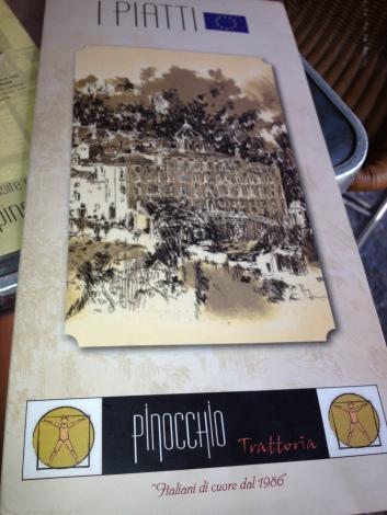Menu at Pinocchio in Madrid, Spain