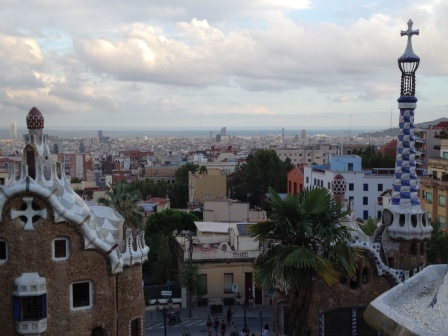 scenic view from Park Guell in Barcelona, Spain